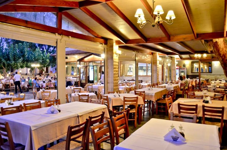 Inside of a Greek Taverna in the evening